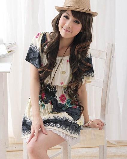 [00620]日系 定位花 寬鬆 連身裙