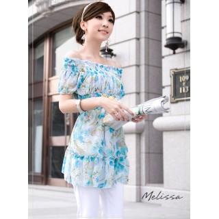 [00172]淑女時尚雪紡露肩上衣-藍色