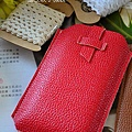 皮製小物-荔枝紋手機袋