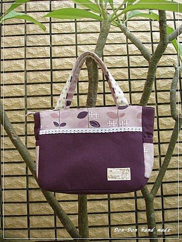 紫色樹葉手提包