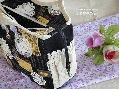 黑色蕾絲提包-拉錬全包式(1)