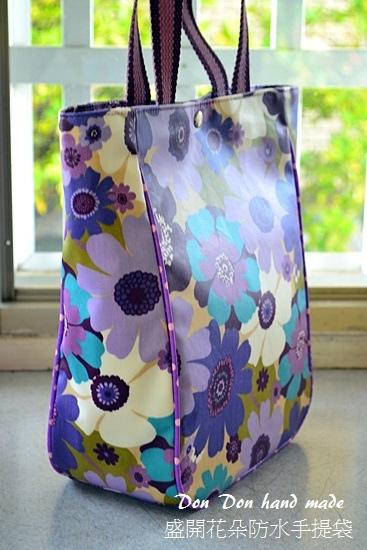 盛開花朵防水手提袋(6)