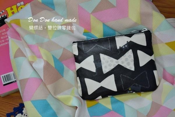 蝴蝶結防水布。雙拉鍊零錢包(5)