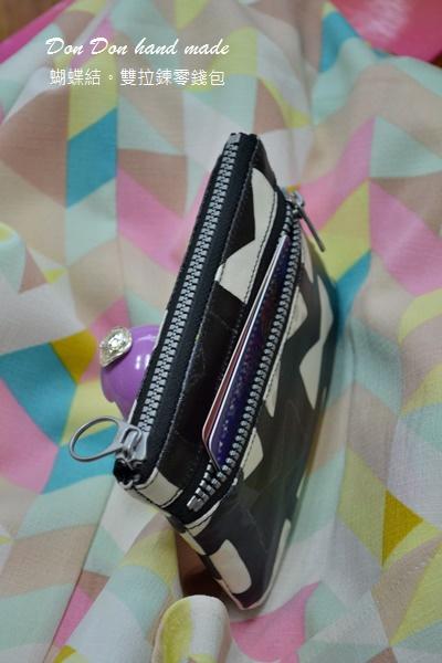 蝴蝶結防水布。雙拉鍊零錢包(4)