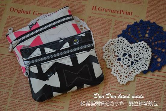 躲貓貓蝴蝶結防水布。雙拉鍊零錢包(2)