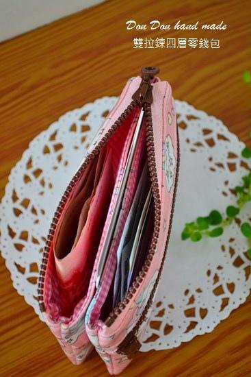 飛馬粉色雙拉鍊四層零錢包(6)
