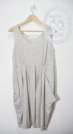 典雅俏麗米白點點傘洋裝