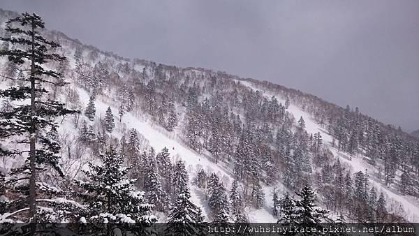 前往霧冰平台(雲海平台)的纜車,沿途風景就是雪場的滑雪道。