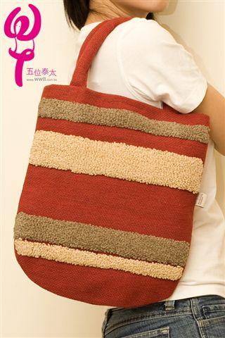 棉質精緻手工側背包(條紋款)