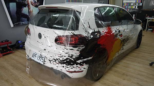 VW GOLF GTI 德國國旗三色 噴濺潑墨主題 車身彩貼