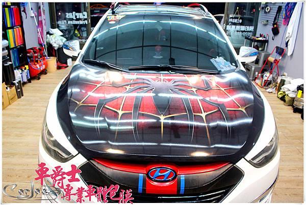 ix35 蜘蛛人 引擎蓋彩貼