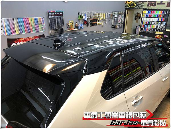 TOYOTA RAV4 車身上半 懸浮車頂 高亮黑 後視鏡 A柱 車頂 尾翼 改色包膜