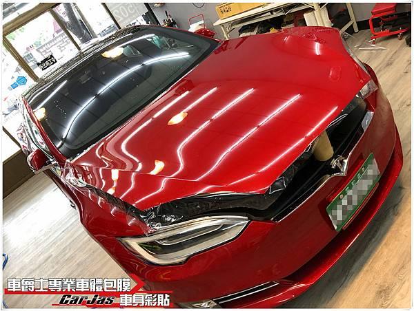 TESLA MODEL S 車頭迎風面 透明犀牛皮車漆保護膜