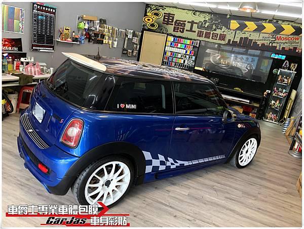 MINI COOPER R56 客製化車頂米字旗車頂彩貼&賽車旗風個車身彩貼