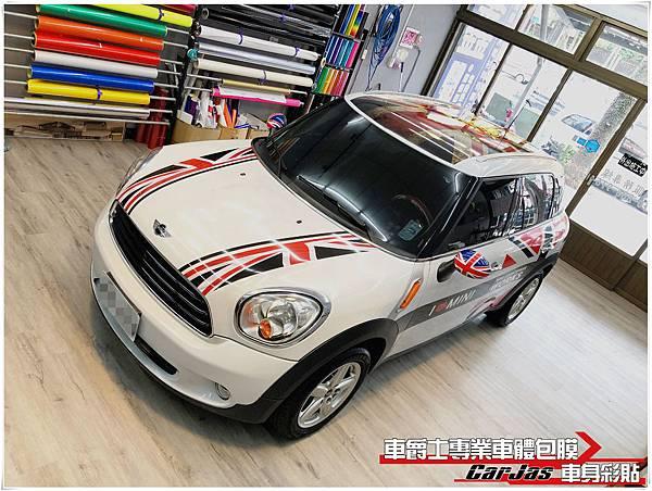 MINI CLUBMAN 客製化英國旗 運動線條 仿舊徽章英國旗車頂彩貼