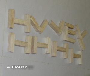 第一次用木頭積木做一堆英文字
