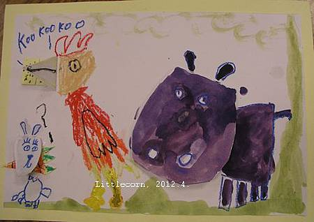 【畫室】河馬吃魚、雞吃餅乾、兔子吃紅蘿蔔。(6y9m)