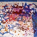 紙膠帶及彈水彩筆而製繪的樹