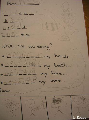 在學校完成的作業,卻被他畫成連連看。(3y11m)