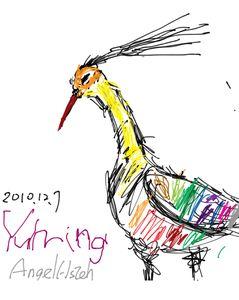 [iPad]鳥,線條:媽媽,顏色:小玉米(2010.12)