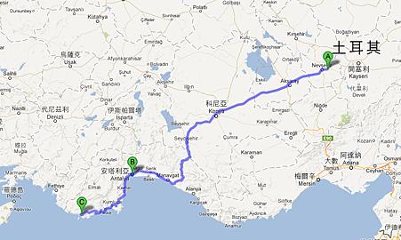 Goreme, 土耳其 至 土耳其卡什 - Google 地圖