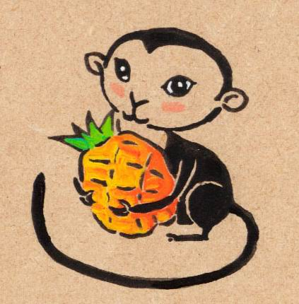 monkey with pineapple