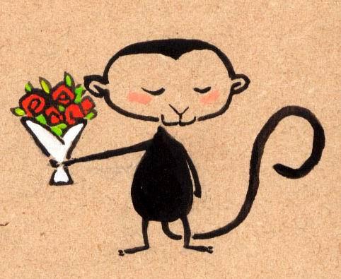 shy monkey sending flowers