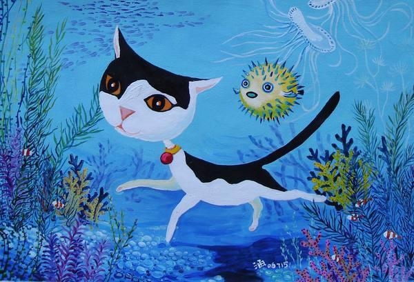 swimming cat or cat under the sea
