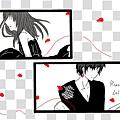 20130121紅線、紅花瓣,黑白的我倆。