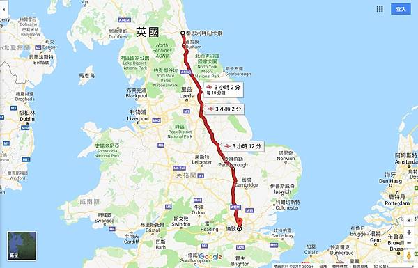 From London to Newcastle by train