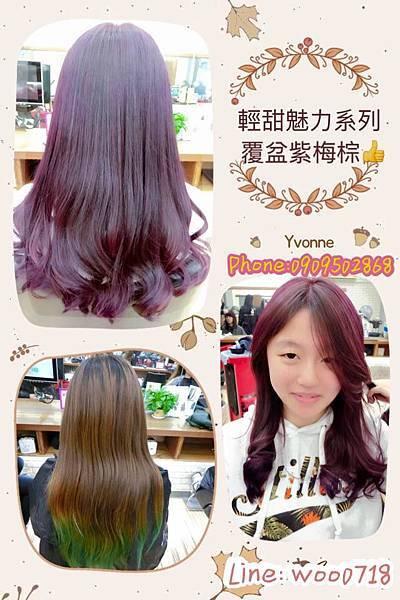 台北西門町染髮推薦 顯白髮色 覆盆莓紫棕色