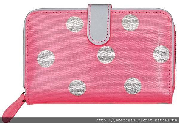8 粉紅點點拉鍊皮夾 10 x 15.5 x3 980
