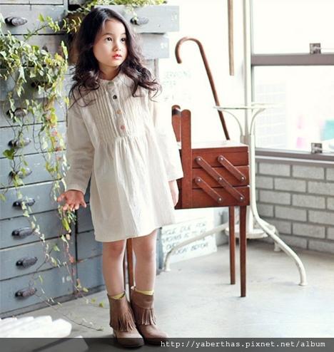 彩色鈕扣連衣裙(象牙色)1