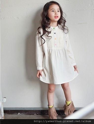 彩色鈕扣連衣裙(象牙色)nt790