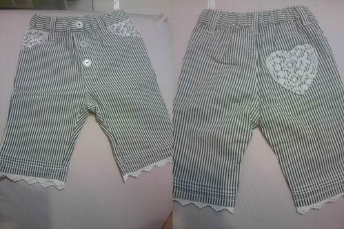 白蕾絲條紋褲