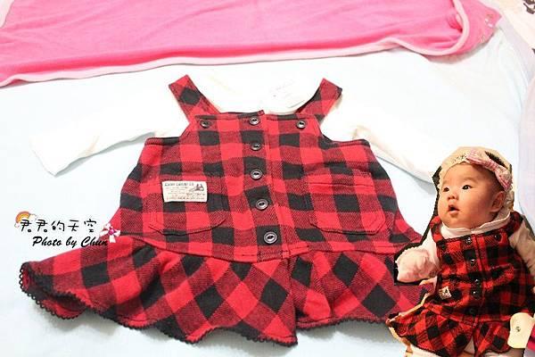 POLO紅黑格吊帶裙套裝