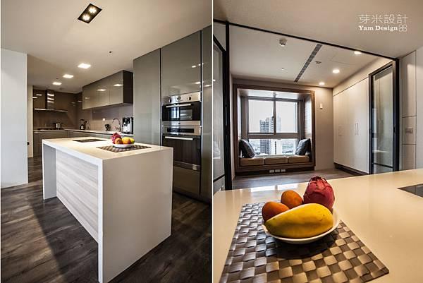7通透的和式房運用折門與捲簾框出空間隱密感;規劃大空間的廚房,滿足常開伙的生活習慣。