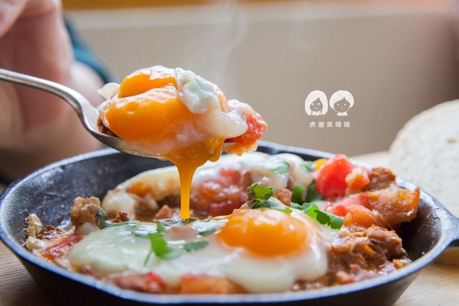 小聚‧Stammtisch 台南早午餐 自製墨西哥臘腸蕃茄烤蛋 附家常麵包 NT220