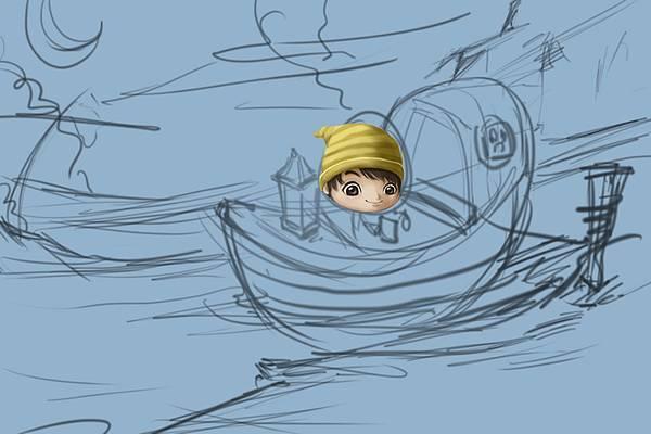 2011-04-23 乘船的小孩11頭陰影混色筆推開.jpg