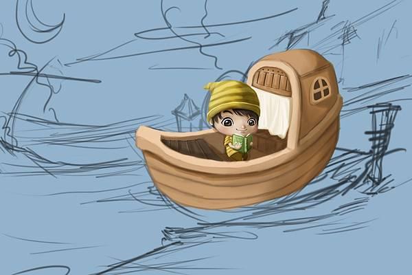 2011-04-23 乘船的小孩23船身陰影.jpg