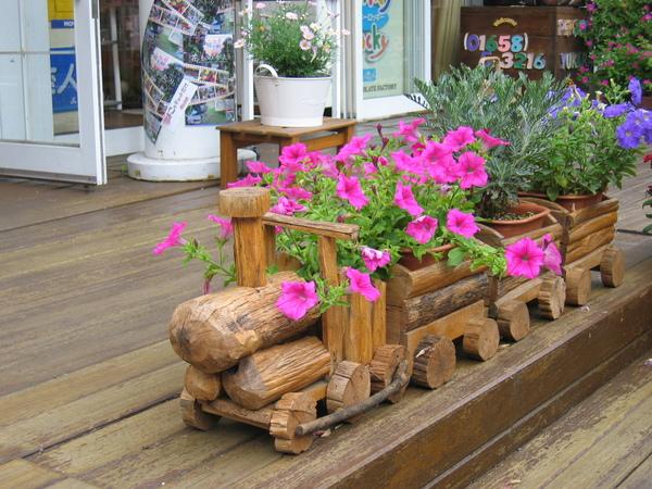 木造小火車造景盆花