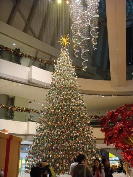 又是一顆很特別的聖誕樹,忘了是在哪一個商場裡,最特別的在於是由很多顆球組成,每一顆球都用細鋼索吊著,組成的樹
