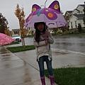 準備上學去!紫色蝴蝶下雨裝