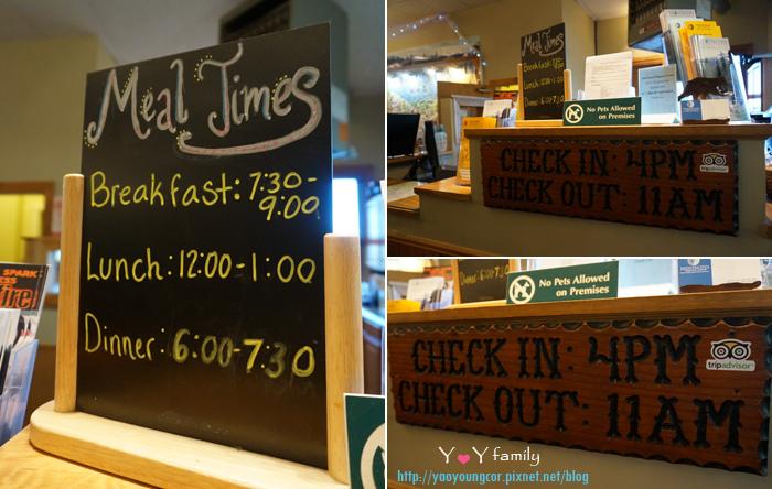 用餐時段和Check-in/out時間
