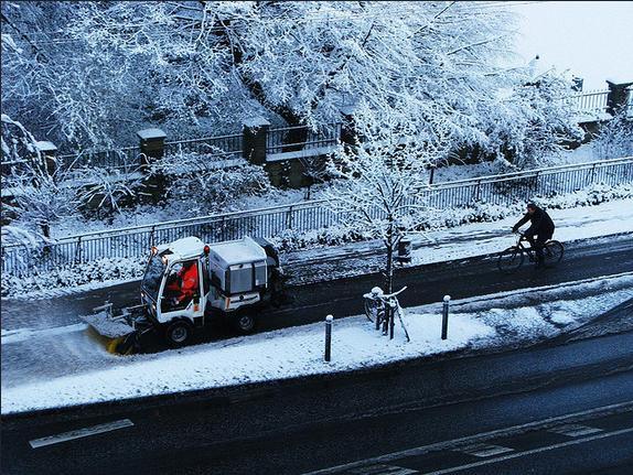 哥本哈根鏟雪中的單車專用線