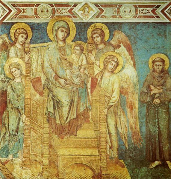 cimabue-端坐寶座的聖母與聖嬰,四位天使和聖方濟