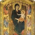 duccio-端坐寶座的聖母與聖嬰及六位天使