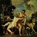 tiziano-維納斯與美少年﹝Venus and Adon