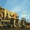 幻想畫:小廣場上的聖馬可駿馬群像