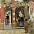 The Courtyard of a House in Delft 庭院中的女人與小孩 c.1658